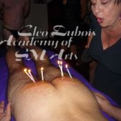 Cleo Dubois demonstrates how to do wax play during an Academy of SM Arts Erotic Dominance Intensive
