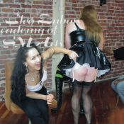 Happy BDSM! Instructor, Selina Raven, shares a light hearted moment at an Academy of SM Arts Pro Course Intensive
